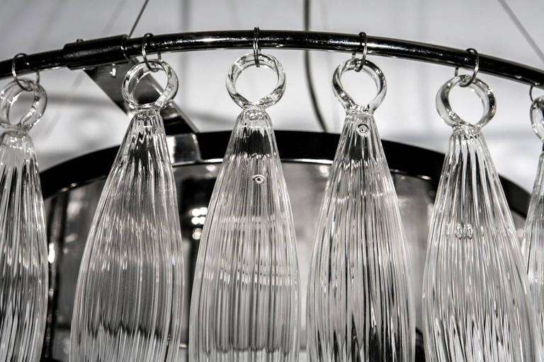 Murano Glass Italian Murano Clear Glass Tassels Chandelier For Sale