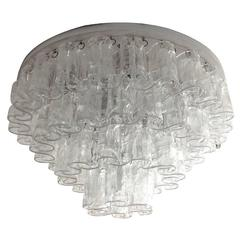 Murano Clear Waves Round Chandelier / Flush Mount by Mazzega