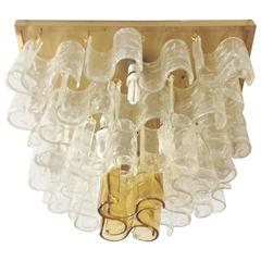 Italian Murano Clear and Amber Waves Glass Chandelier by Mazzega