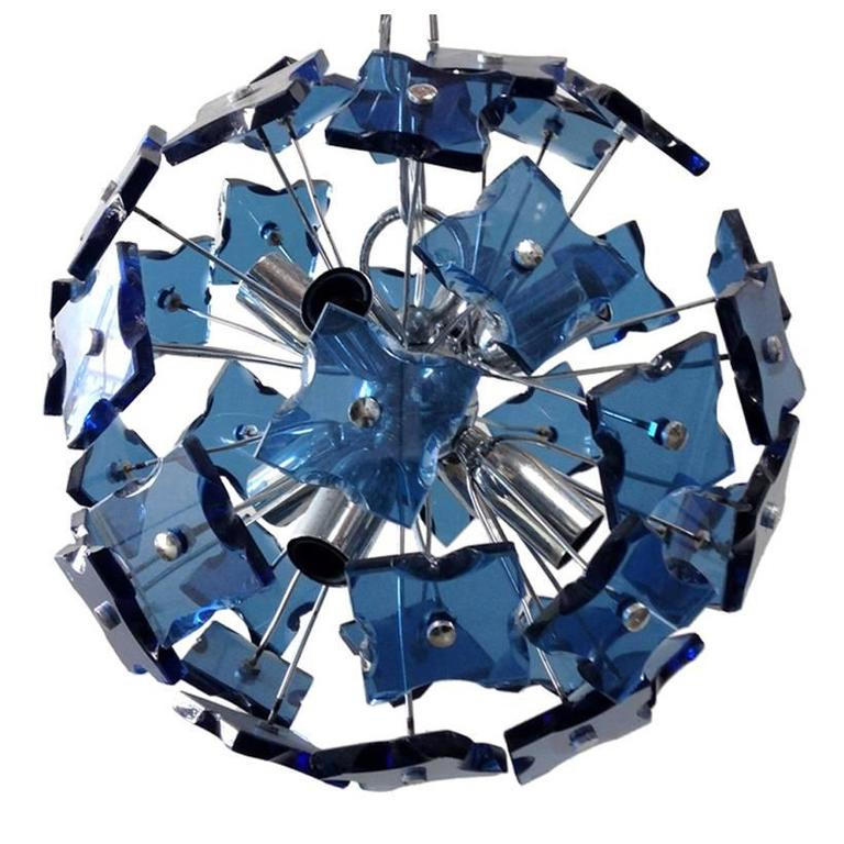 Italian Blue Faceted Glass Sputnik Chandelier in the Style of Fontana Arte