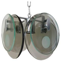 Italian Smoky and Clear Duel Layer Discs Pendant by Cristal Art