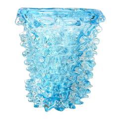 Italian Murano Glass Aquamarine Rostri Vase by Maestro Camozzo