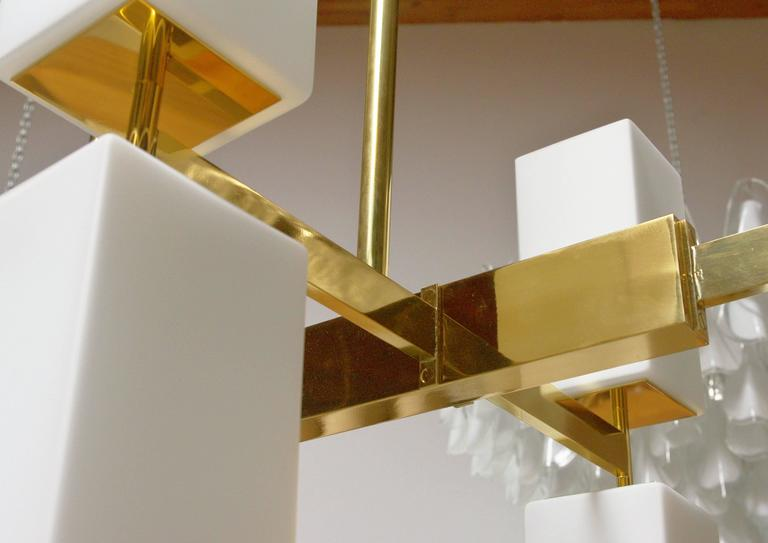 Contemporary Italian Murano Frosted Glass and Brass Chandelier by Fabio Bergomi For Sale