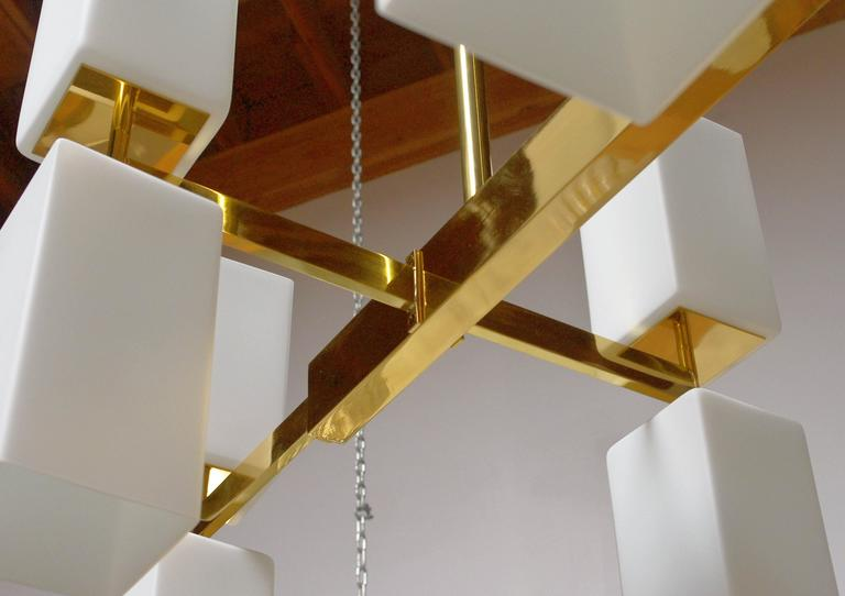 Italian Murano Frosted Glass and Brass Chandelier by Fabio Bergomi For Sale 1