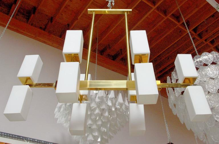 Modern Italian Murano Frosted Glass and Brass Chandelier by Fabio Bergomi For Sale