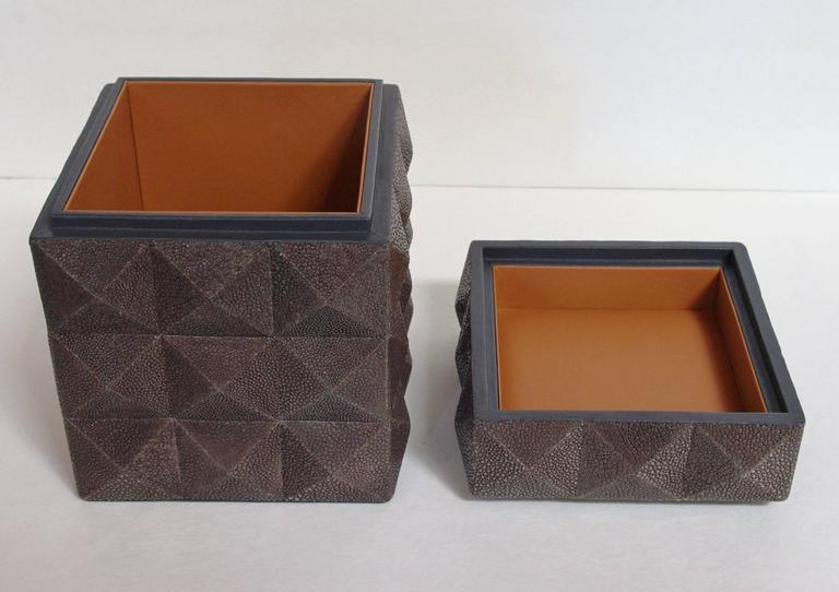 Contemporary Pyramid Gray Shagreen Box by Fabio Ltd For Sale
