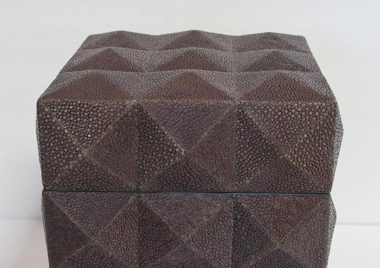 Modern Pyramid Gray Shagreen Box by Fabio Ltd For Sale