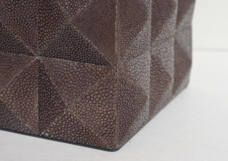 Pyramid Gray Shagreen Box by Fabio Ltd In Excellent Condition For Sale In Palm Springs, CA