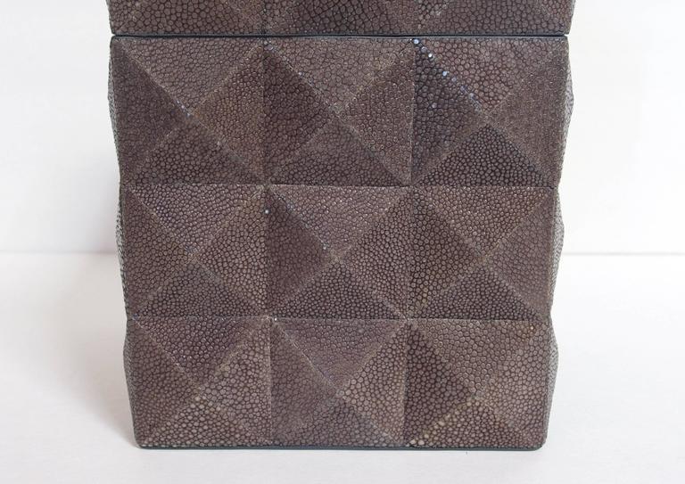 Italian Pyramid Gray Shagreen Box by Fabio Ltd For Sale