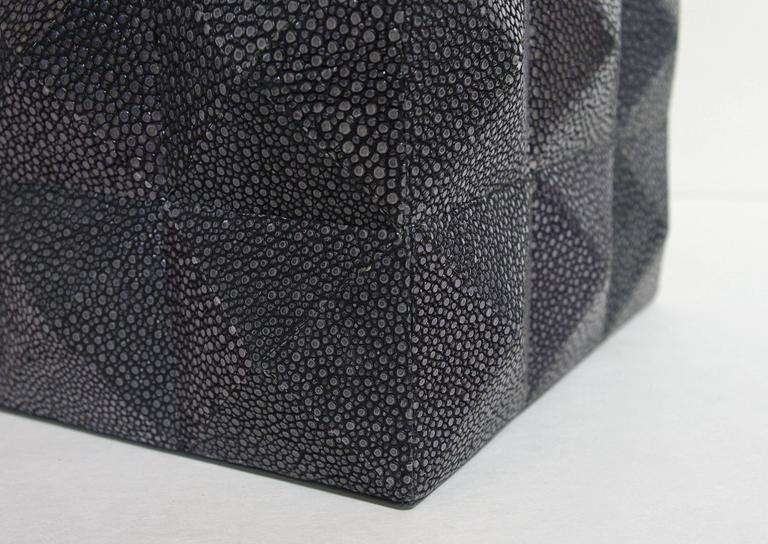 Italian Pyramid Black Shagreen Box For Sale
