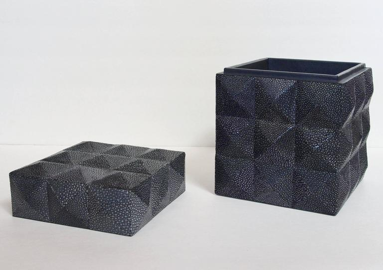Pyramid Black Shagreen Box by Fabio Ltd In Excellent Condition For Sale In Palm Springs, CA