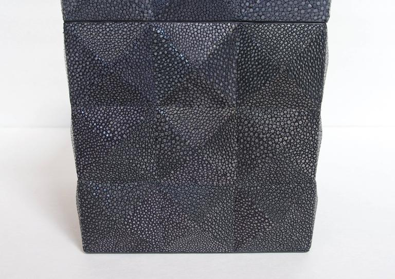 Modern Pyramid Black Shagreen Box by Fabio Ltd For Sale