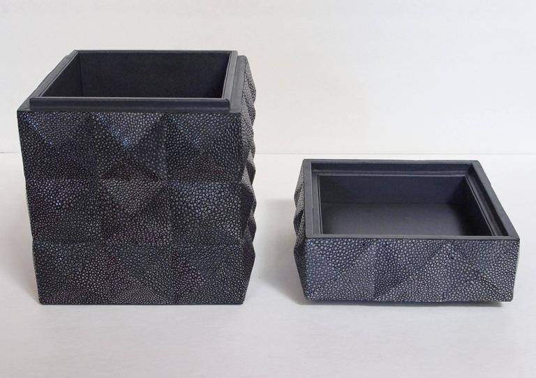 Contemporary Pyramid Black Shagreen Box by Fabio Ltd For Sale