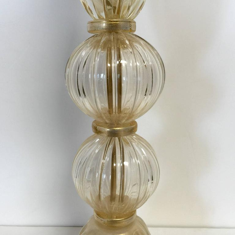 Pair of Italian Murano Glass Clear Gold Table Lamps 2