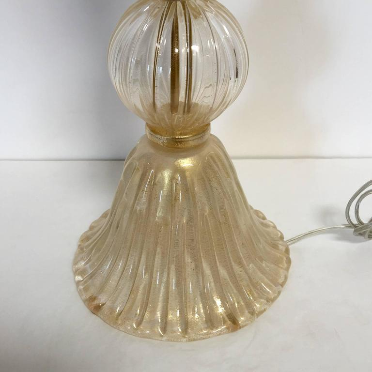Pair of Italian Murano Glass Clear Gold Table Lamps 5