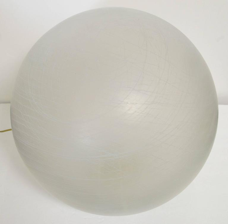 Italian frosted Murano glass globe table lamp or floor lamp. Single light socket/wired for U.S.