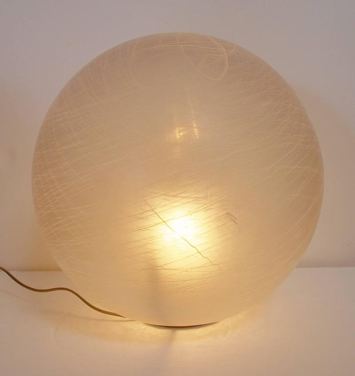 Brass Italian Frosted Murano Glass Globe Table Lamp or Floor Lamp For Sale
