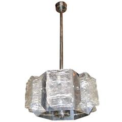 Hexagonal Murano Chandelier by Mazzega