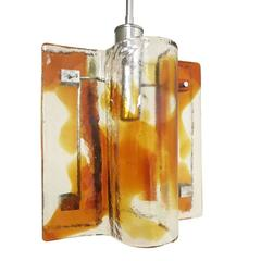 Italian Murano Amber Glass Pendant by Mazzega