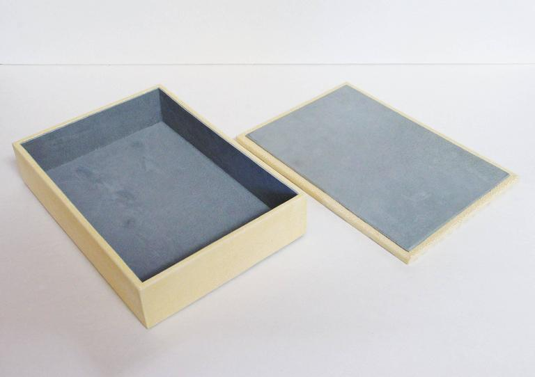 Contemporary ivory and Brown Shagreen Box For Sale