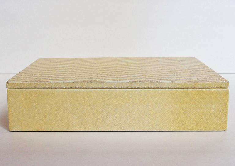 Modern ivory and Brown Shagreen Box For Sale