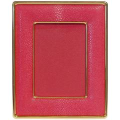 "Red Shagreen Gold-Plated Photo Frame for 5"" x 7"" by Fabio Bergomi"