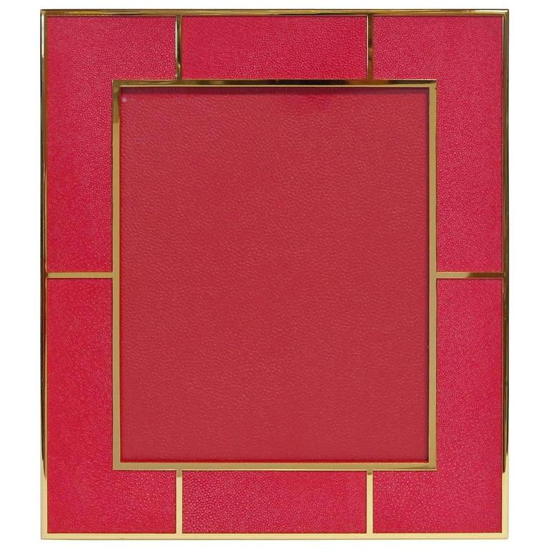 "Rectangular Red Shagreen Gold-Plated Photo Frame for 8"" x 10"" by Fabio Bergomi"