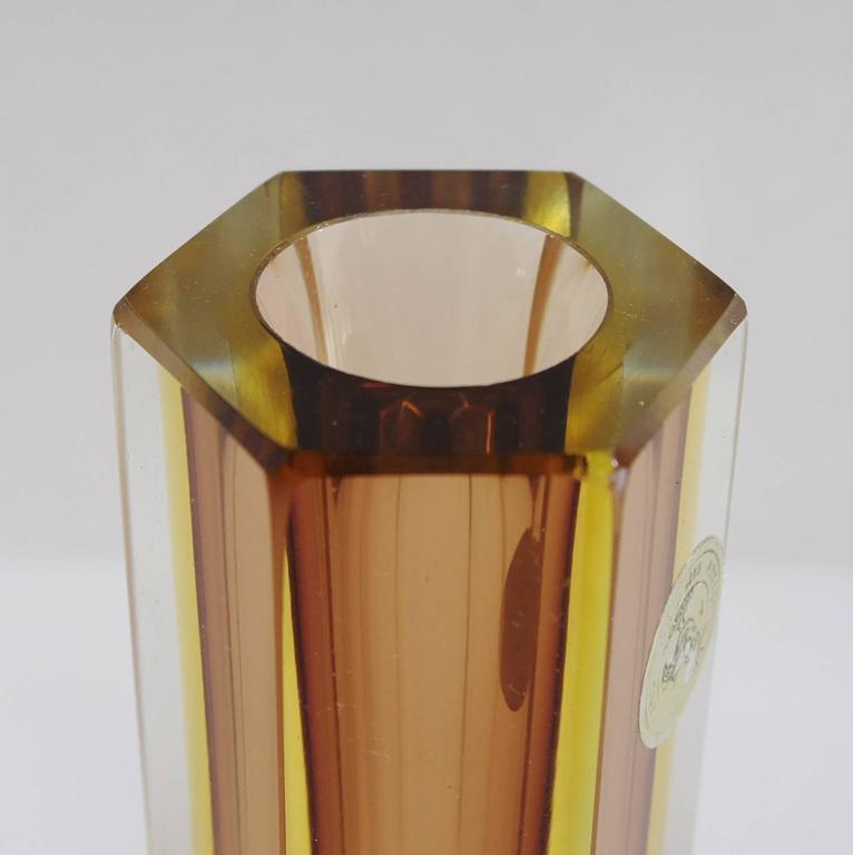 Mid-Century Modern Italian Murano Glass Sommerso Vase by Mandruzzato For Sale