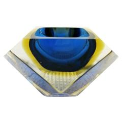 Italian Murano Glass Sommerso Faceted Bowl by Mandruzzato