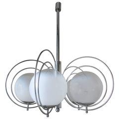 Italian Mid-Century White Murano Globes Pendant by Sergio Mazza
