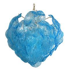 Italian Blue Murano Glass Leaves Chandelier by Mazzega