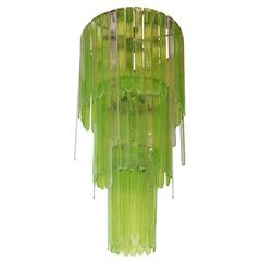 Murano Green and Clear Cascade Chandelier by Leucos