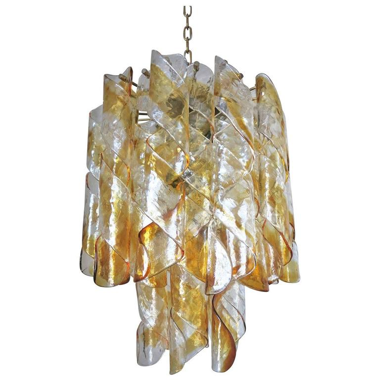 Amber and Clear Twist Murano Chandelier by Mazzega