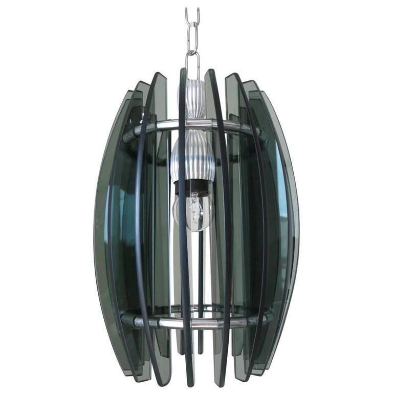 Italian Beveled Glass Pendant by Veca For Sale