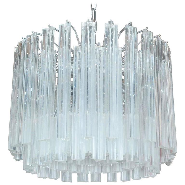 Italian Murano Triedri Glass Drum Chandelier by Venini