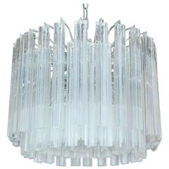 Italian Murano Triedri Glass Drum Chandelier by Venini