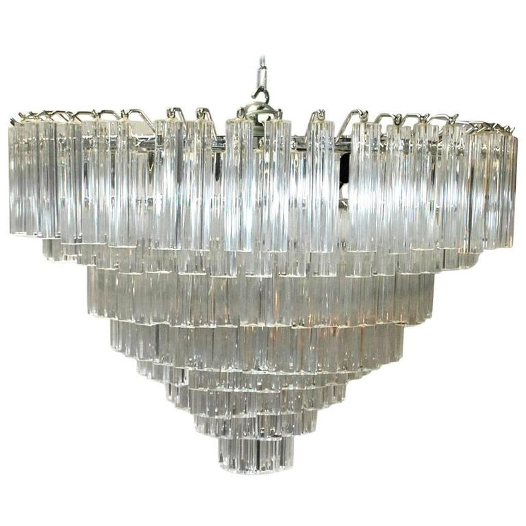 Italian Murano Glass Crystals Chandelier by Venini