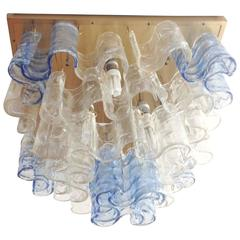 Italian Murano Waves Glass Chandelier or Flush Mount by Mazzega