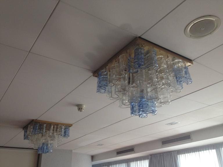Mid-Century Modern Murano Waves Chandelier or Flush Mount by Mazzega For Sale