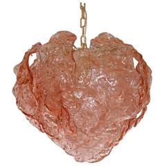 Italian Pink Murano Glass Leaves Chandelier by Mazzega