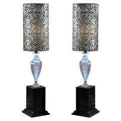 Italian Lead Crystal Amphora Floor Lamps