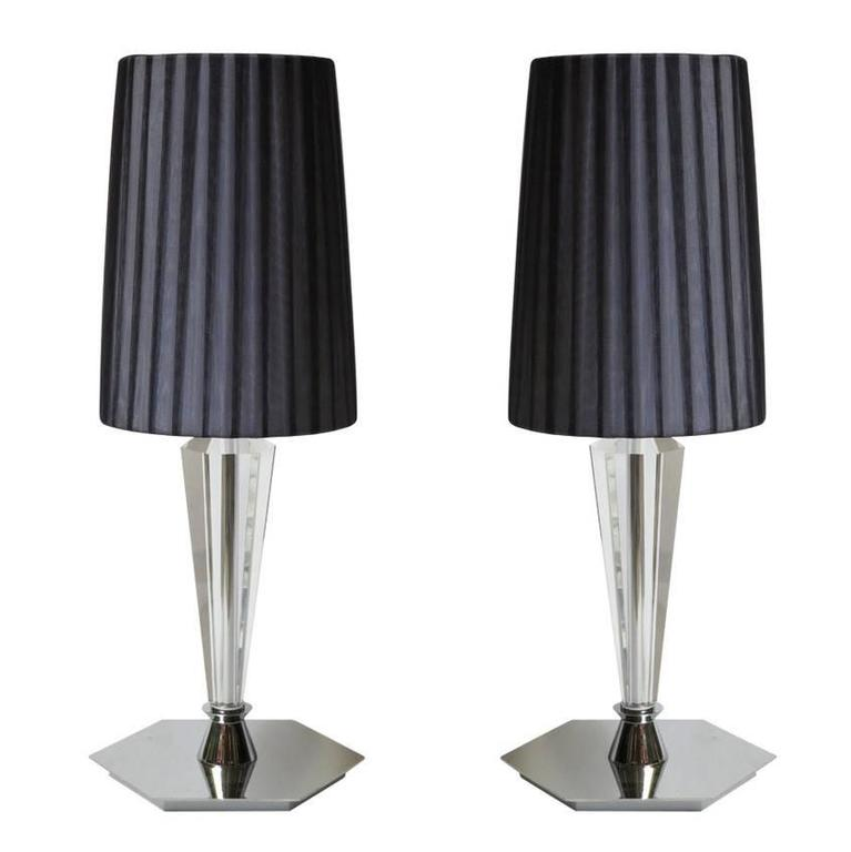pair of italian lead crystal table lamps for sale at 1stdibs. Black Bedroom Furniture Sets. Home Design Ideas