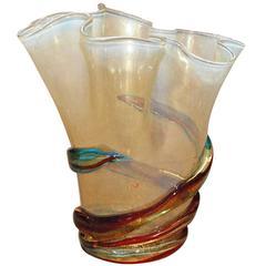 Italian Gold and Multicolor Murano Glass Vase