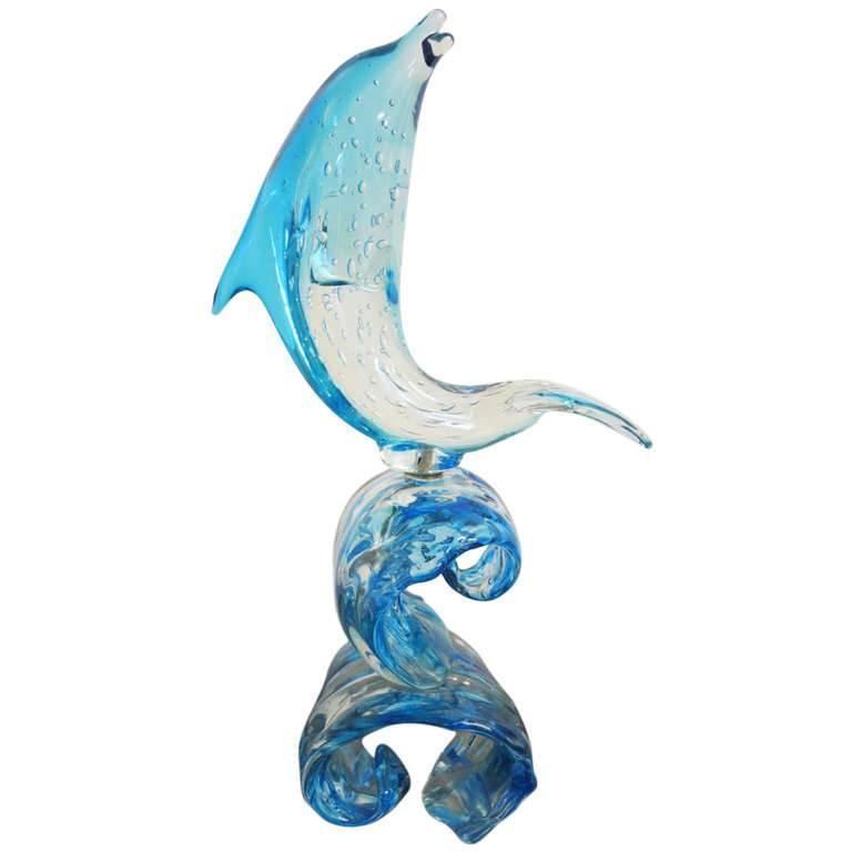Italian Murano Glass Dolphin on Wave Sculpture by Sergio Costantini
