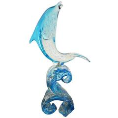 Italian Murano Glass Dolphin on Wave Sculpture by Sergio Costantini