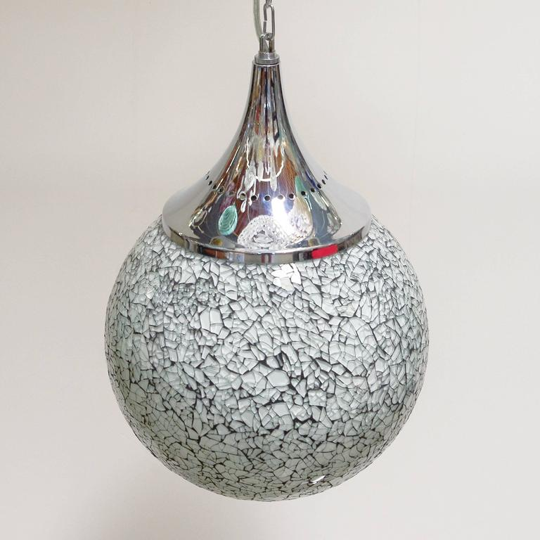Thai Crackled White Glass Globe Pendants For Sale