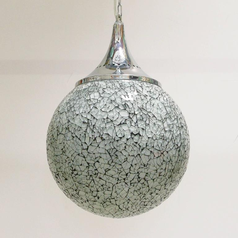 Modern Crackled White Glass Globe Pendants For Sale