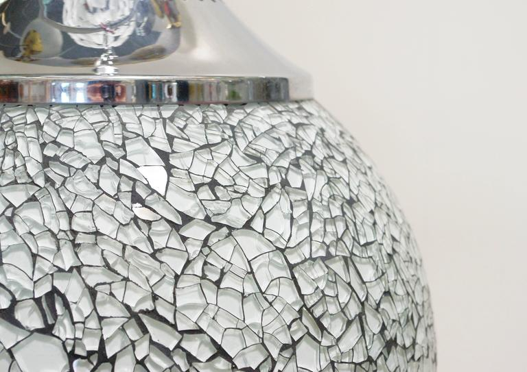 Contemporary Crackled White Glass Globe Pendants For Sale