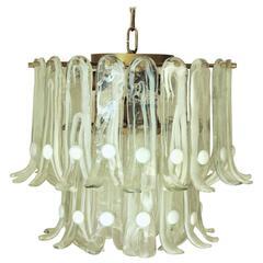 Italian Vintage Murano Glass Chandelier by Mazzega