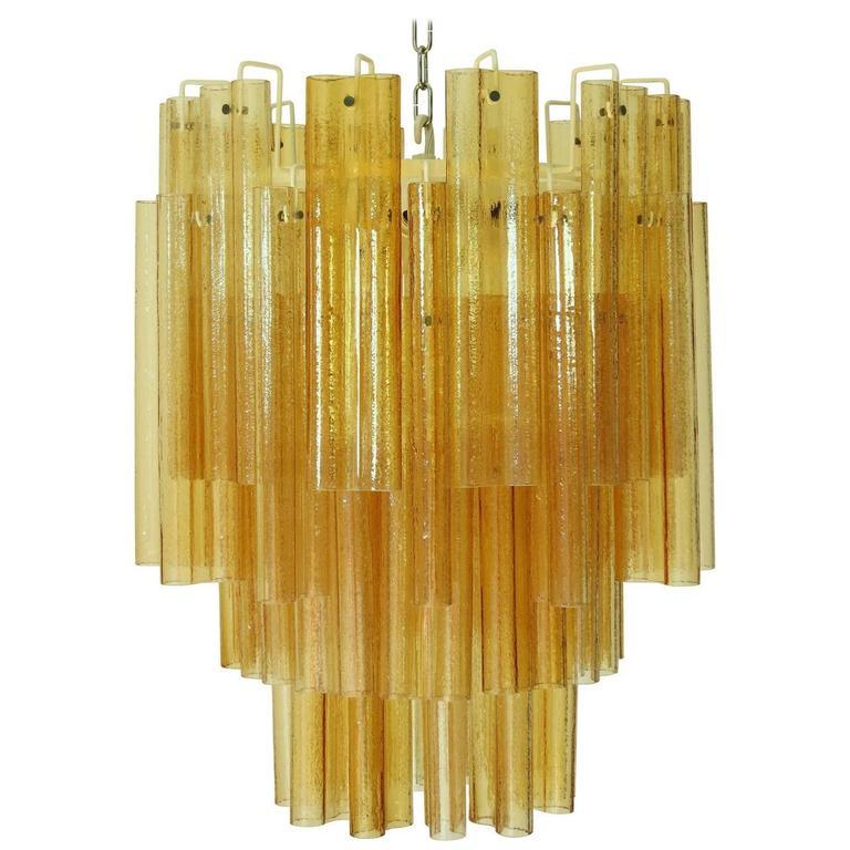 Amber Murano Glass Tubes Chandelier